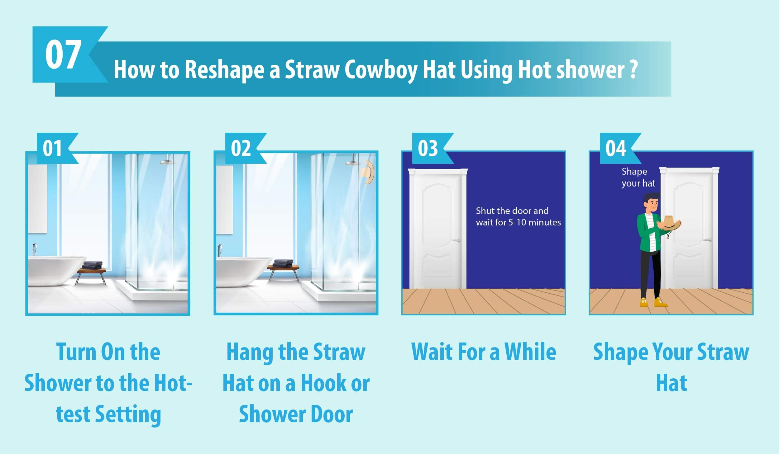 Reshape Your Straw Cowboy Hat in Hot Shower