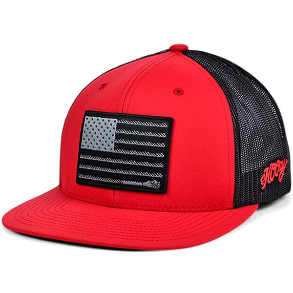 6 Panel Mid Profile Hat with USA Flag Patch