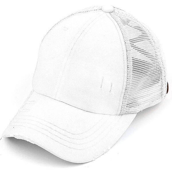 White Color Distressed Criss Cross Ponytail Hat