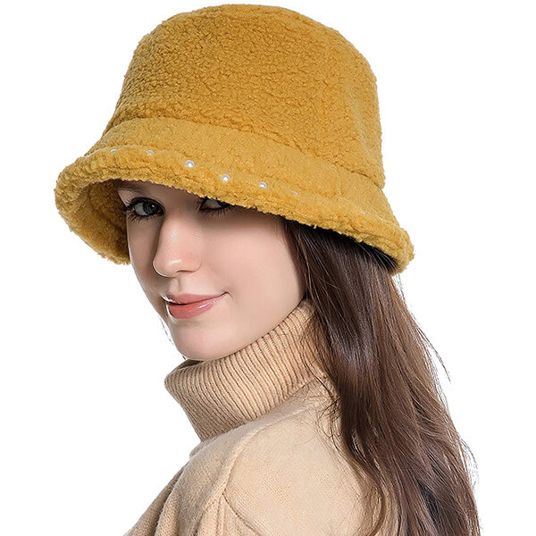 Wool Bucket Hat with White Pearls Decoration
