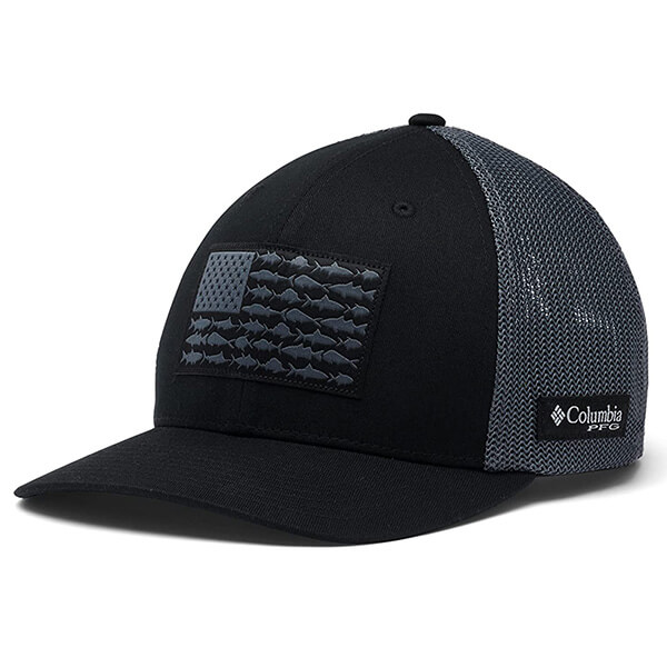 Columbia Black Trucker Hat with Fish Flag Patch Design