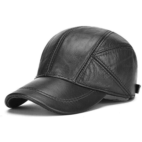 Cowhide Real Leather Winter Baseball Cap