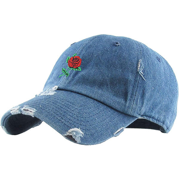 Distressed Ponytail Hat with Embroidery Rose Flower