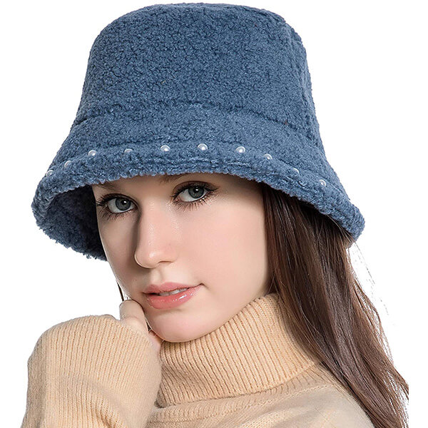 Faux Fur Wool Bucket Hat with Pearls Around the Brim