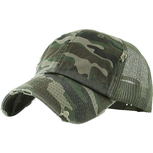 Funky Junque Camo Distressed Trucker Hat