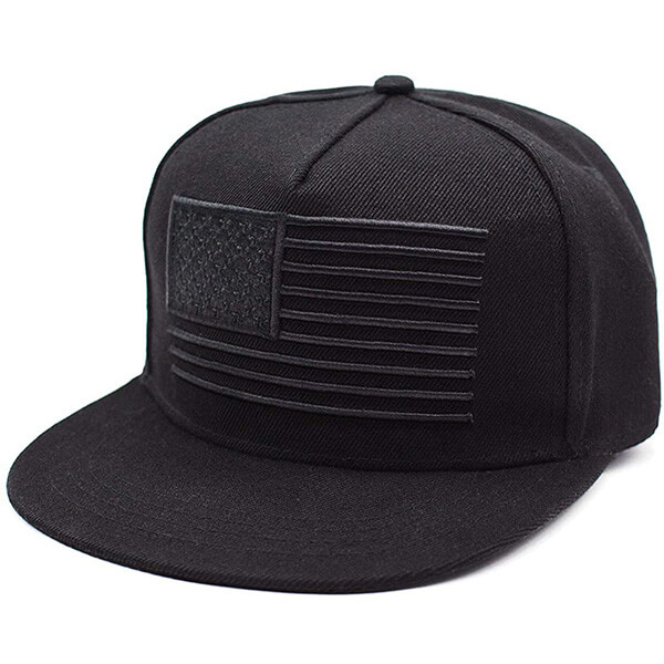 Black Color Snapback Baseball Cap with Flag Patch