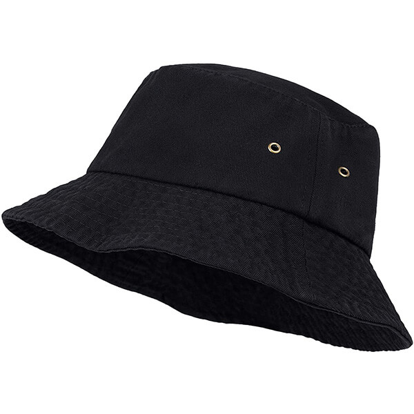 Washed cotton bucket hat for women