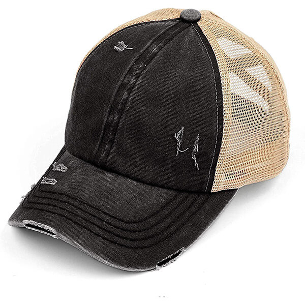 Distressed Ball Cap with Criss Cross Ponytail Hole