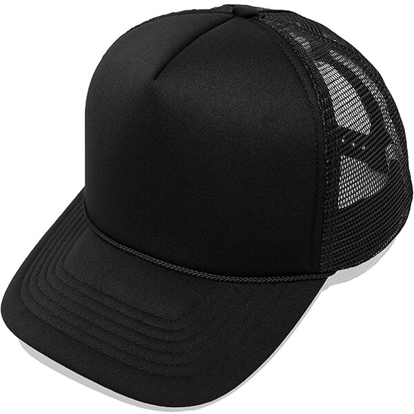 Black Color Trucker Hat With Poly-Foam Crown