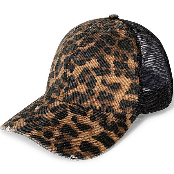 PonyFlo® Distressed Leopard Mesh Back For Women