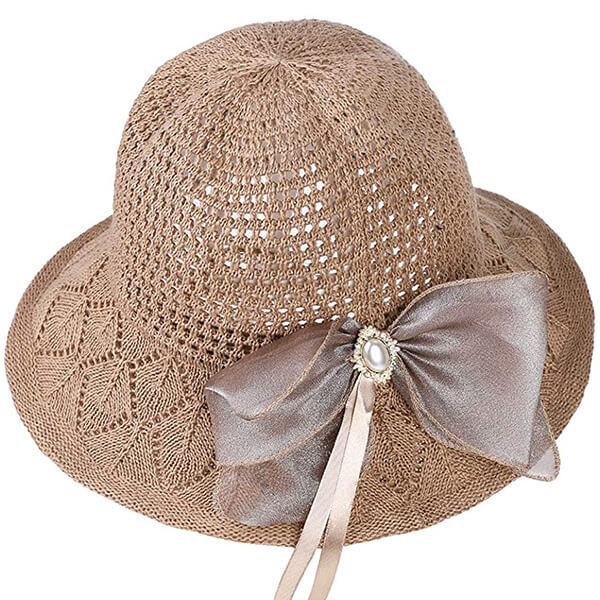 Summer bucket hat with bowknot